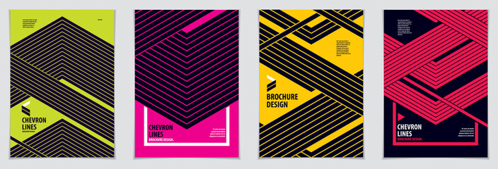 Modern minimal Template brochures, leaflets, posters. Vector geometric patterns abstract backgrounds set. Striped line textured geometric illustrations. A4 print format.