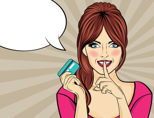 Beautiful woman  in pop art style with credit card showing hand silence sign