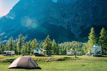 Poster de jardin Camping tourist tent in mountains camping at Italy, active resting