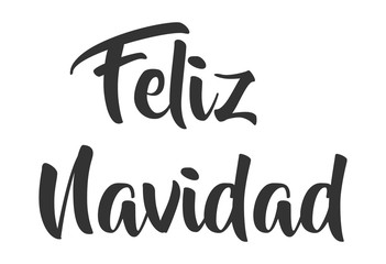 Feliz Navidad lettering template. Greeting card or invitation. Winter holidays related typograph