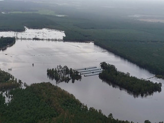 Flooding covers a farm in eastern North Carolina