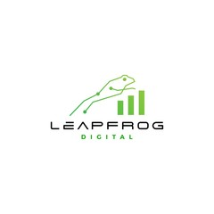 leap frog tech digital chart statistics logo vector icon design inspirations