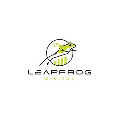 leap frog tech digital chart statistics logo vector icon design inspirations