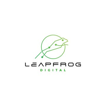 leap frog tech digital logo vector icon design inspirations