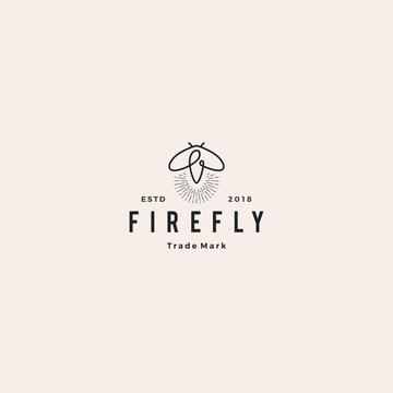 firefly logo hipster retro vintage vector icon illustration design inspirations