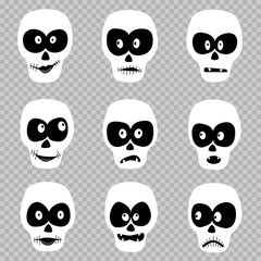 Cartoon day of the dead masks skull set template on transparent background. Zombie emotion Halloween faces design collection