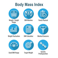 BMI - Body Mass Index Icon Set with BMI Machine, weight scale, etc