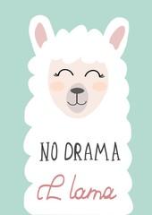 cute llama hand drawn vector illustration for cards,t-shirts,fabric