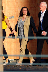 Andrea Nahles, leader of Social Democratic Party (SPD), leaves after a meeting at the chancellery in Berlin