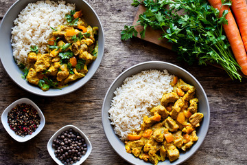 Bowls Of Homemade Curry Meal With Rice
