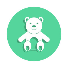 Teddy bear icon in badge style. One of toys collection icon can be used for UI, UX