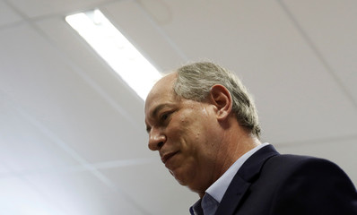 Presidential candidate Ciro Gomes of the Democratic Labour party (PDT) talks during a campaign rally at the Brazilian Society for the Advancement of Science in Sao Paulo