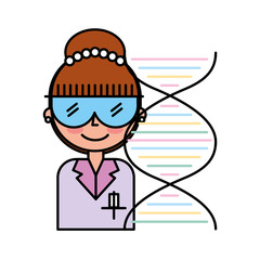 scientific woman with goggles dna molecule chemistry