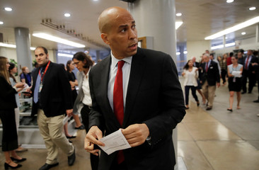 U.S. Senator Booker talks to reporters about Kavanaugh Supreme Court nomination on Capitol Hill in Washington