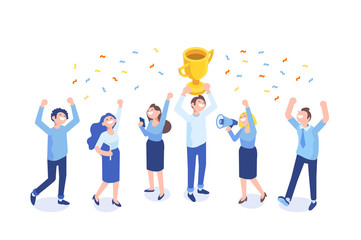 Team Success vector illustration. Business people celebrating victory. Vector illustration of a flat design.