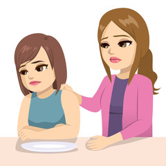 Worried mother about teenage daughter diet eating disorder issue concept