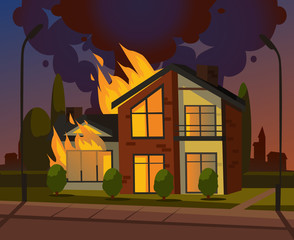 Burning house fire. Vector design graphic flat cartoon illustration