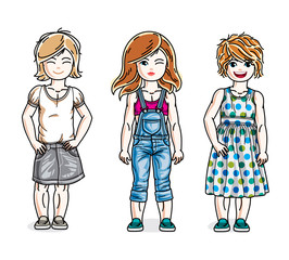 Beautiful little girls cute children standing wearing casual clothes. Vector set of beautiful kids illustrations.