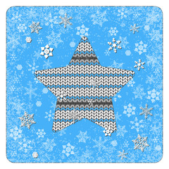 Vintage card. Knitting. Star. Snowflakes background. White elements, blue background, frame