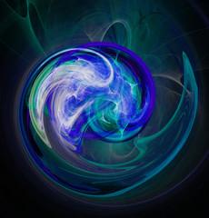 Fractal abstraction. Glowing spiral shape blue, black background