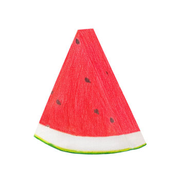 drawing watermelon with colour pencil