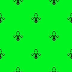 Seamless pattern. Fleur de lis. Linear graphics. Geometric symmetrical drawing. Green background.
