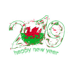 Happy New 2019 Year with flag of Wales. Holiday grunge vector illustration.