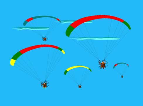 Group of para gliding flying on the sky cloud blue background,team work show flying paragliding