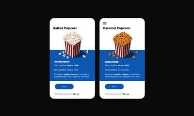 Menu Popcorn Box UX UI App Design Vector Illustration