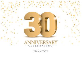 Anniversary 30. gold 3d numbers. Fotomurales