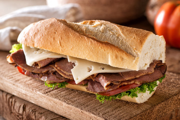 Roast Beef and Swiss on Baguette