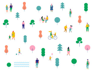 Colorful Crowd. Flat People big vector set. Male and female cartoon characters isolated on white background.