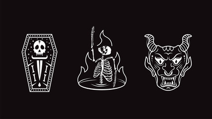Skull, demon, skull in fire. Logo vector illustration.
