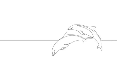 Single continuous line art marine dolphin swim jump silhouette. Nature ocean ecology life environment concept. Big sea wave design one sketch outline drawing vector illustration