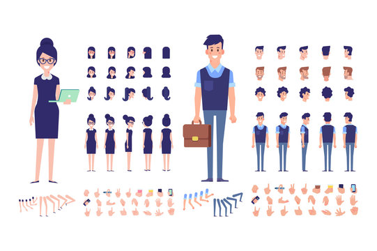 Front, side, back, 3/4 view animated characters. Business people creation set with various views, hairstyles and gestures. Cartoon style, flat vector illustration.