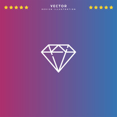 Premium Symbol of Diamond Related Vector Line Icon Isolated on Gradient Background. Modern simple flat symbol for web site design, logo, app, UI. Editable Stroke. Pixel Perfect.