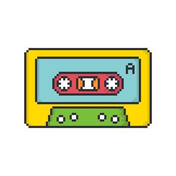 Retro audio cassette tape pixel art style vector icon on white background.