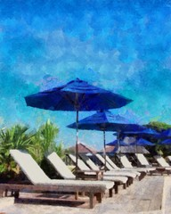 Oil painting. Art print for wall decor. Acrylic artwork. Big size poster. Watercolor drawing. Modern style fine art. Beautiful exotic tropical landscape.   White chaise lounges at he resort paradise.