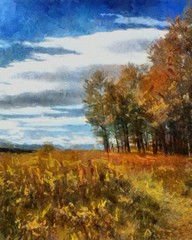 Oil painting. Art print for wall decor. Acrylic artwork. Big size poster. Watercolor drawing. Modern style fine art. Beautiful autumn field landscape.