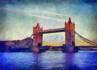 Oil painting. Art print for wall decor. Acrylic artwork. Big size poster. Watercolor drawing. Modern style fine art. Beautiful London bridge landscape. England view.