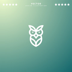 Premium Symbol of Owl Related Vector Line Icon Isolated on Gradient Background. Modern simple flat symbol for web site design, logo, app, UI. Editable Stroke. Pixel Perfect.
