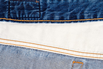 Wrong side of blue and white jeans fabric