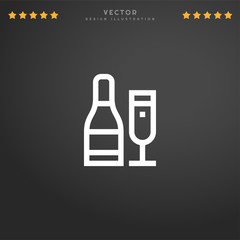 Premium Symbol of Champagne Related Vector Line Icon Isolated on Gradient Background. Modern simple flat symbol for web site design, logo, app, UI. Editable Stroke. Pixel Perfect.