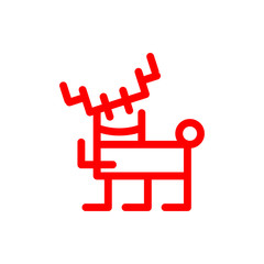 Cartoon deer marker style, red illustration. Christmas decoration vector isolations