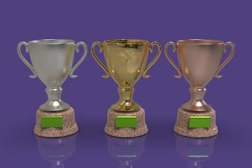 Golden trophy cups