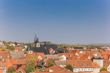 Wall Mural - View over rooftops and churches of Quedlinburg, Germany