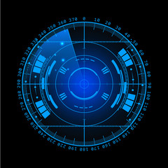 Radar screen. Vector illustration for your design. Technology background. Futuristic user interface.  display with scanning. HUD.  EPS10.