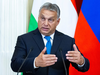 Hungarian PM Orban speaks during a joint news conference with Russian President Putin following their talks at the Kremlin in Moscow