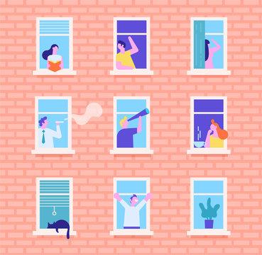 People in window frames. Neighbors people characters. Flat  cartoon vector illustration.