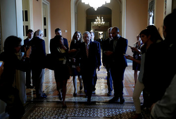 U.S. Senate Majority Leader McConnell is questioned by reporters about Kavanaugh Supreme Court nomination on Capitol Hill in Washington
